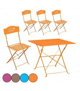 Petit salon de jardin table et 4 chaises en métal Venise