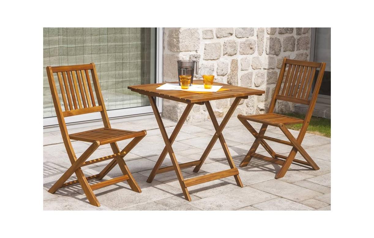 Table D Ext Rieur Pliante Et 2 Chaises En Bois D Acacia