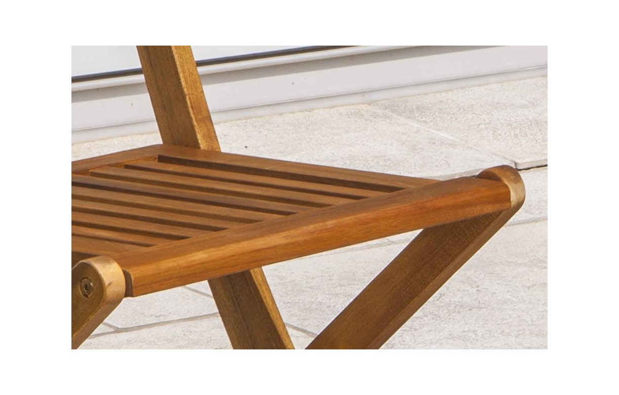 Table d 39 ext rieur pliante et 2 chaises en bois d 39 acacia for Table exterieur acacia