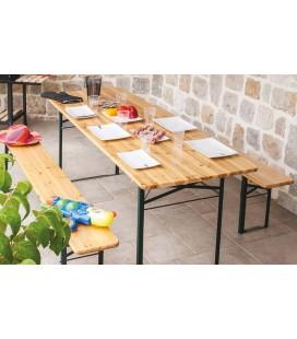 Ensemble de repas extérieur pliant table 200 cm + 2 bancs Munich