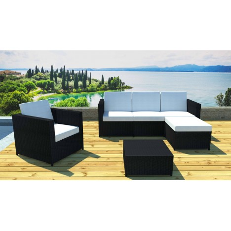 Salon de jardin complet modulable 5 places avec table basse Bandol