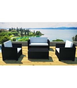 Salon de jardin résine tressée noire 1 canapé 2 fauteuils 1 table basse