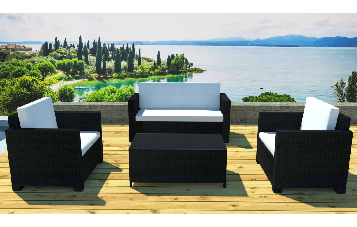 salon de jardin r sine tress e noire canap 2 fauteuils et table basse. Black Bedroom Furniture Sets. Home Design Ideas