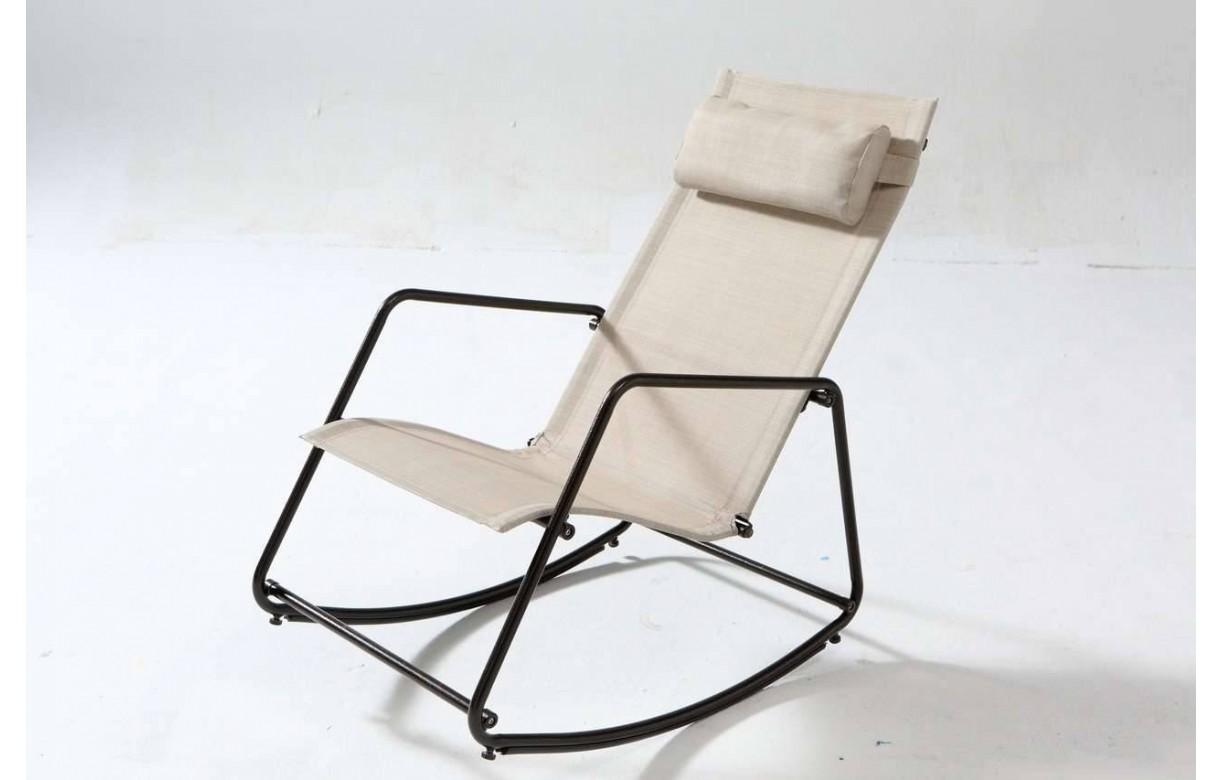 Fauteuil bascule de jardin type rocking chair beige ou - Rocking chair de jardin ...