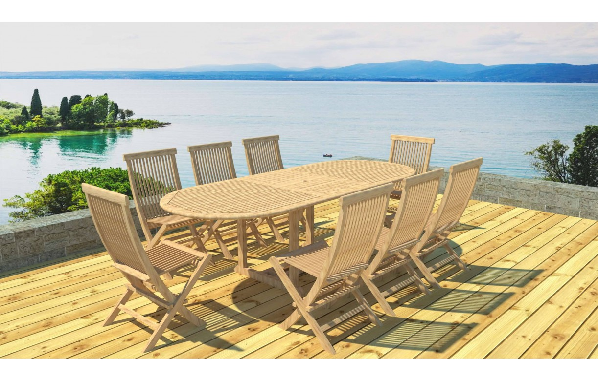 table de jardin ovale avec rallonge en teck massif 8 chaises. Black Bedroom Furniture Sets. Home Design Ideas
