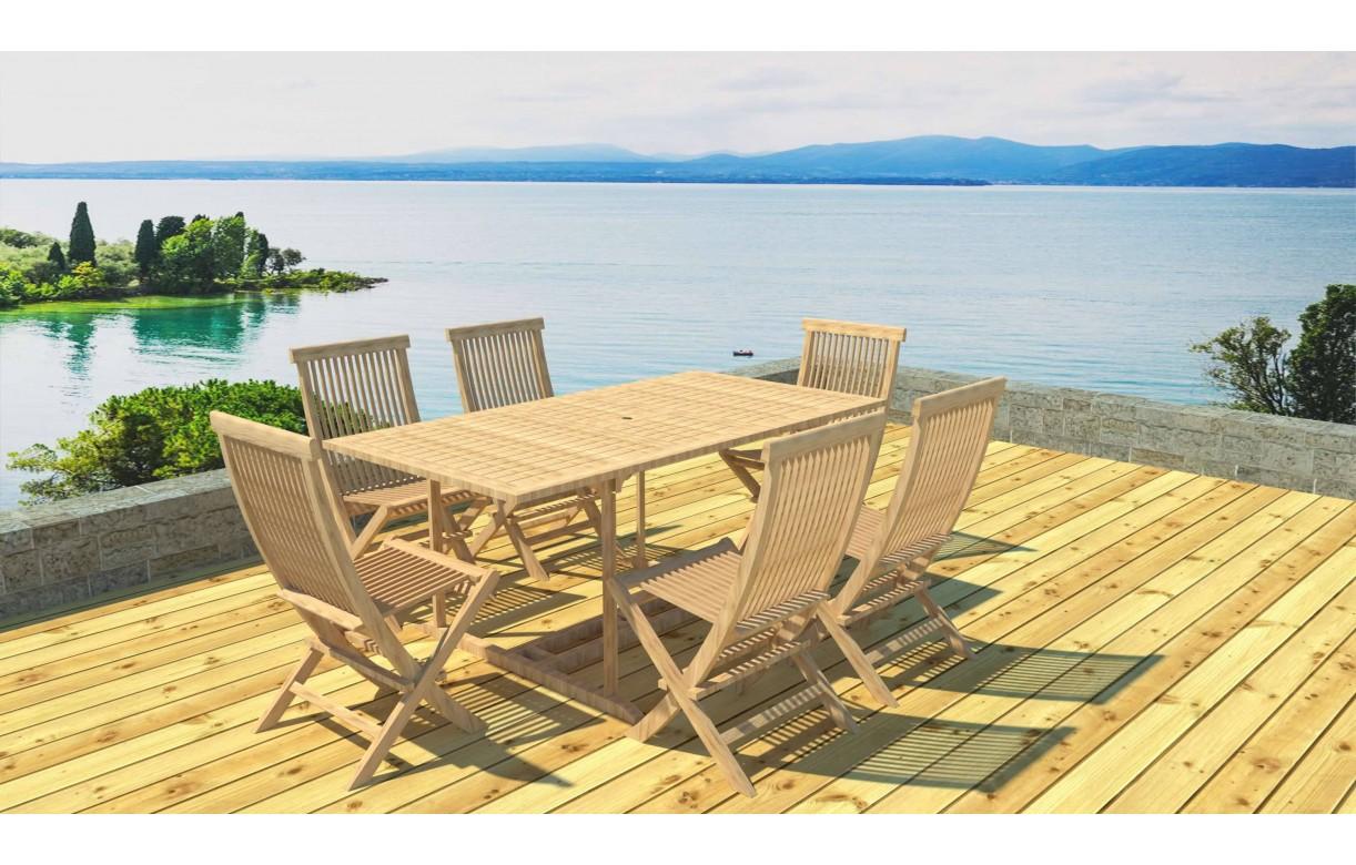 Table de jardin en bois avec rallonge en teck massif 6 places Mobilier de jardin en teck massif