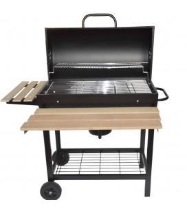 Barbecue charbon de bois avec couvercle et tablettes en bois