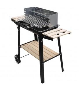 Barbecue charbon de bois avec étagères en bois -