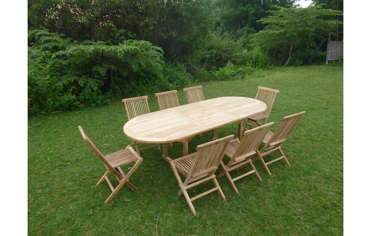 Table de jardin ovale avec rallonge en teck massif 8 chaises - Table de jardin blanche avec rallonge ...