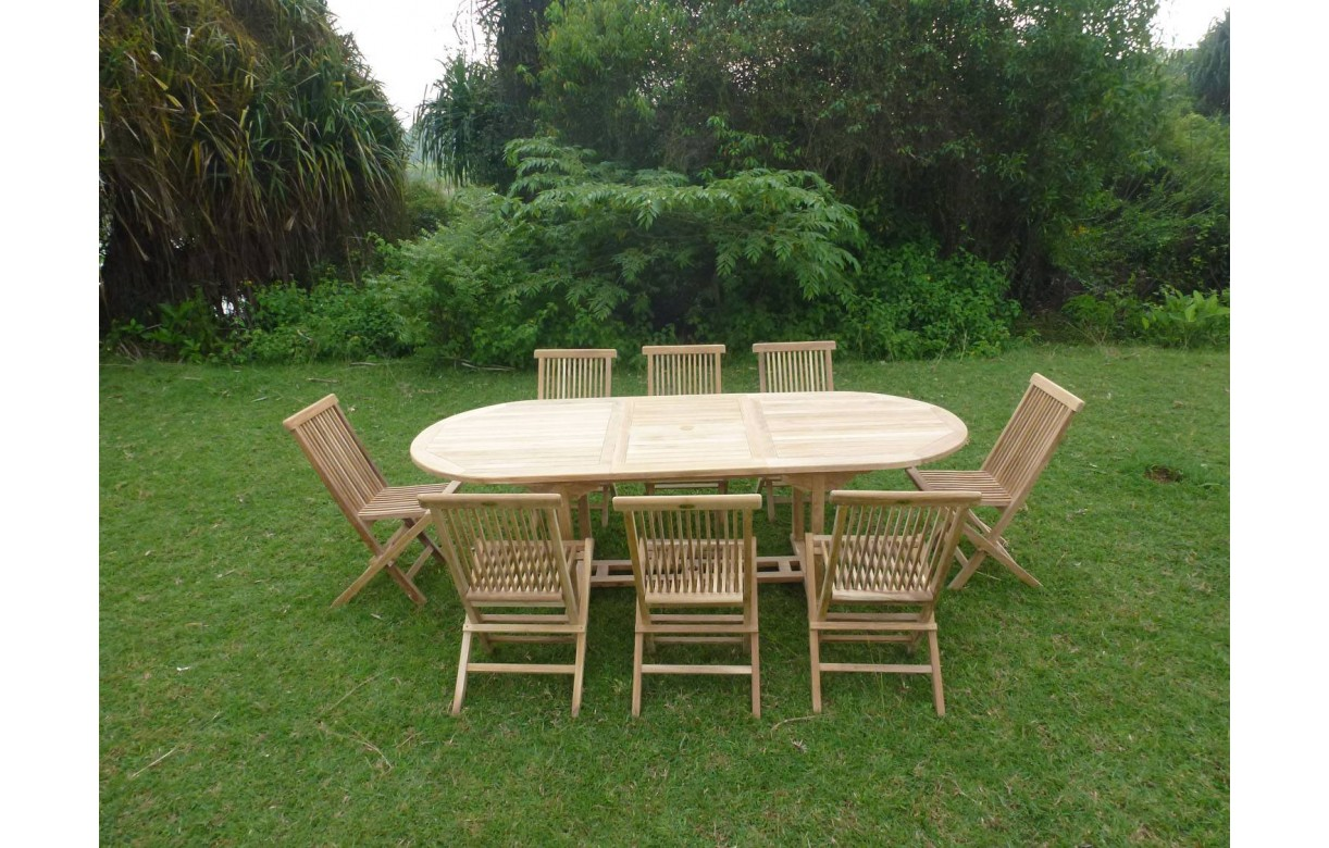 table de jardin ovale avec rallonge en teck massif 8 chaises. Black Bedroom Furniture Sets. Home Design Ideas