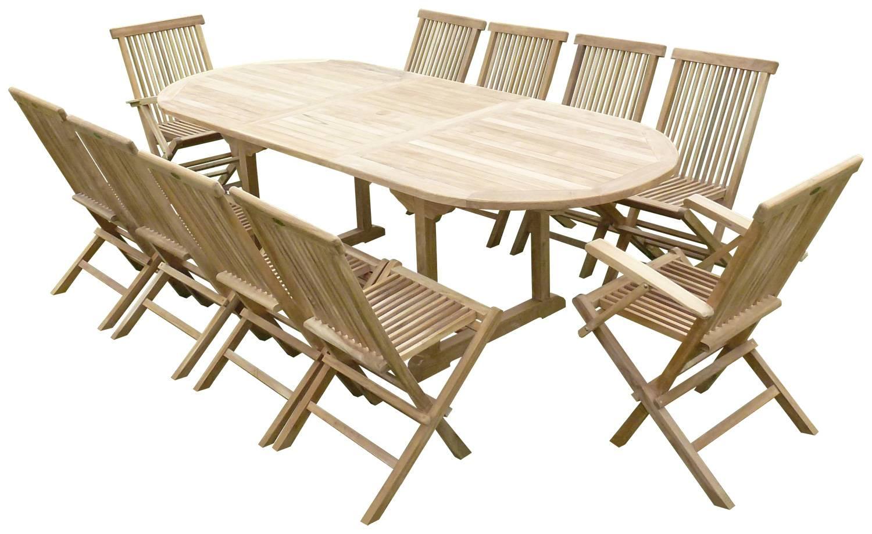 Ensemble de repas d\'extérieur extensible à 300 cm + 10 chaises