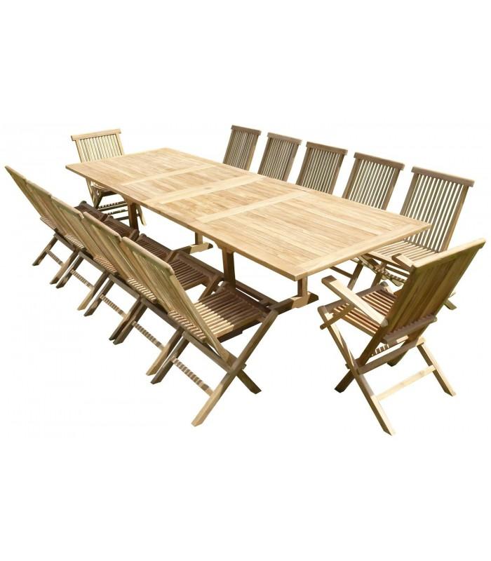 Ensemble de repas complet rectangulaire en bois massif for Ensemble de salon complet