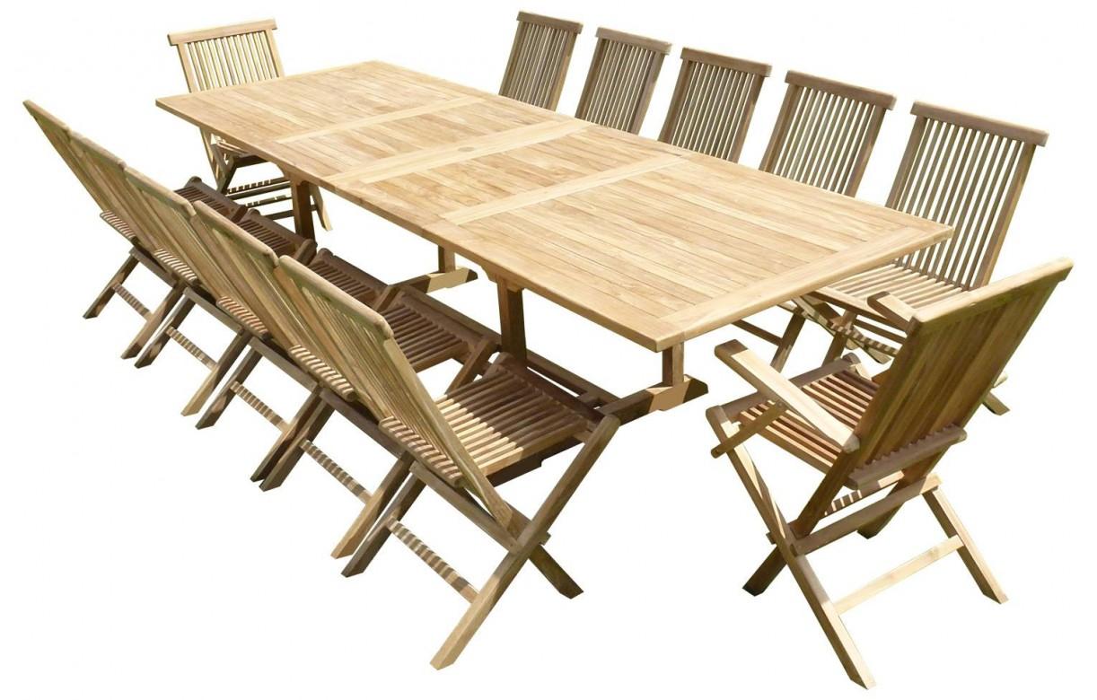 Ensemble de repas complet rectangulaire en bois massif for Ensemble repas exterieur