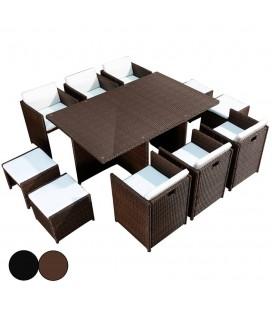 Ensemble de jardin encastrable table en verre et 6 fauteuils et 4 poufs Carry