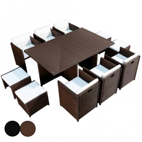 Ensemble de jardin encastrable table en verre et 6 fauteuils et 4 poufs Carry -