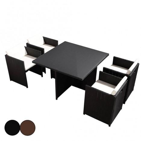 Salon de jardin encastrable table en verre et 4 fauteuils