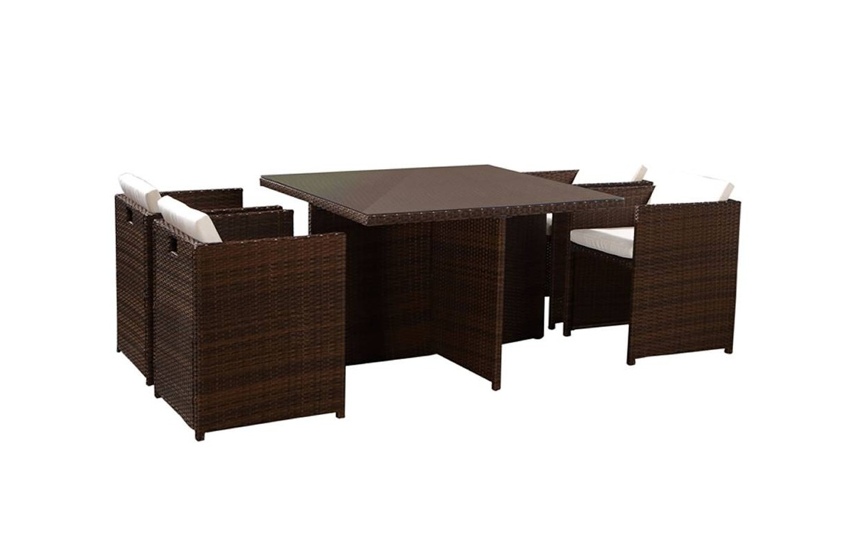 salon de jardin encastrable table en verre et 4 fauteuils. Black Bedroom Furniture Sets. Home Design Ideas