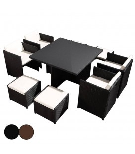 Salon de jardin encastrable table en verre et 4 fauteuils et 2 poufs Carry -