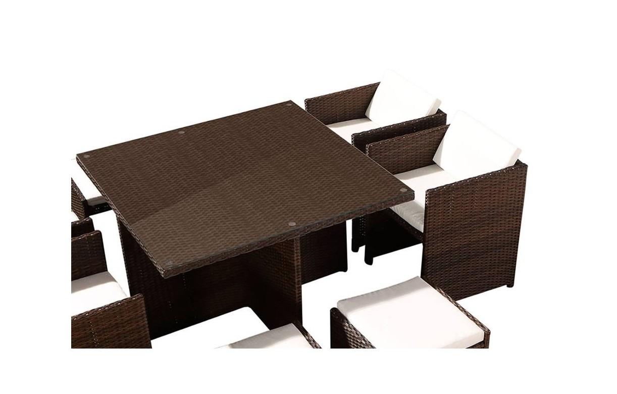 Ensemble de repas d 39 ext rieure encastrable avec 4 fauteuils et 2 poufs - Table fauteuil encastrable ...