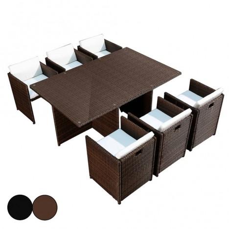 Ensemble de repas encastrable table et 6 fauteuils Sausset -