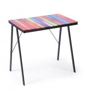 Table d'appoint en verre multicolore et pieds métal Rainbow -