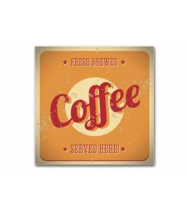 Tableau Vintage Plaque coffee orange 50x50 cm ELSY