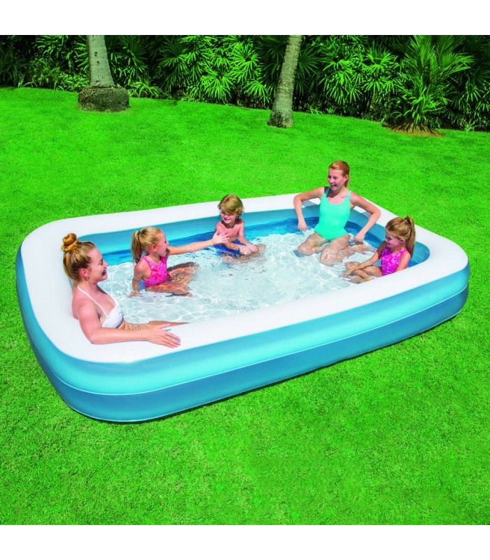 Piscine gonflable bleu pour enfant rectangle bestway for Piscine jardin rectangle