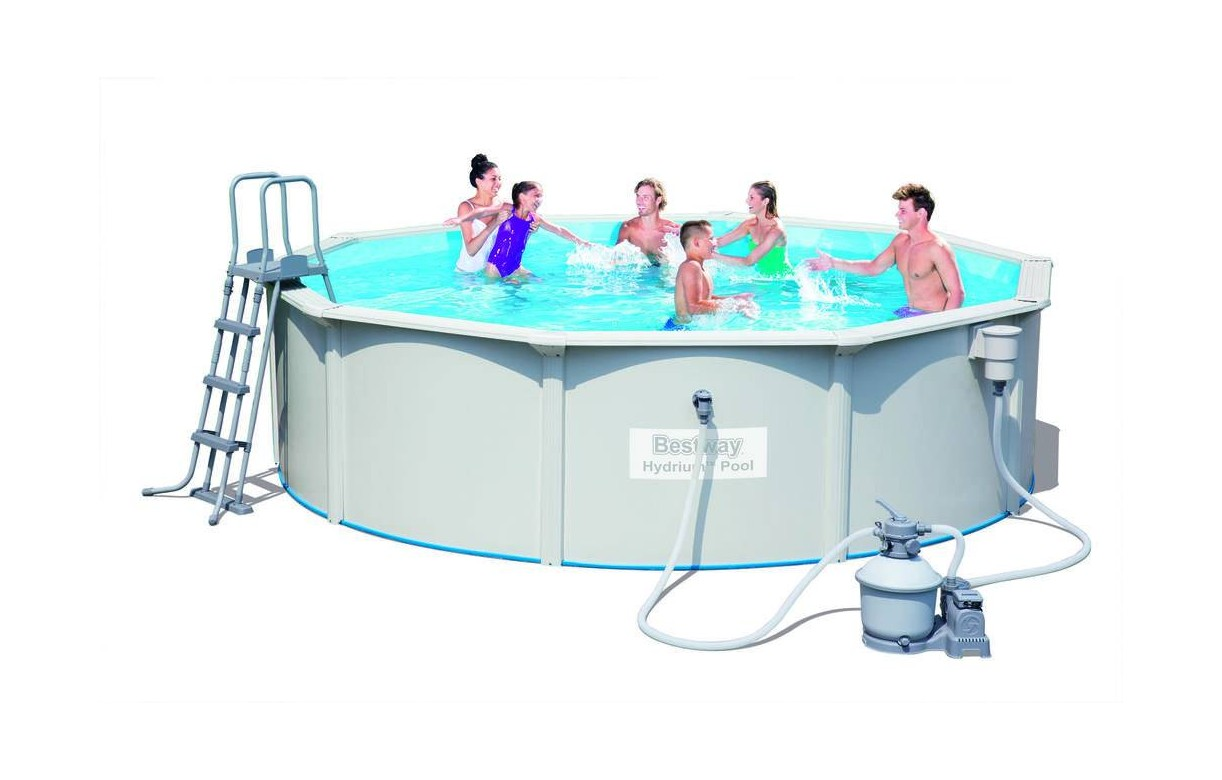 Piscine ronde blanche hors sol en kit bestway for Piscine ronde