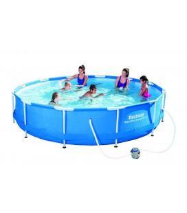 Piscine ronde en kit Diam 360cm Bleu pour familles -
