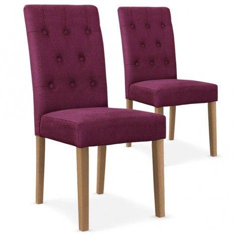 Chaise en tissu capitonnée Cecilia- Lot de 2 -