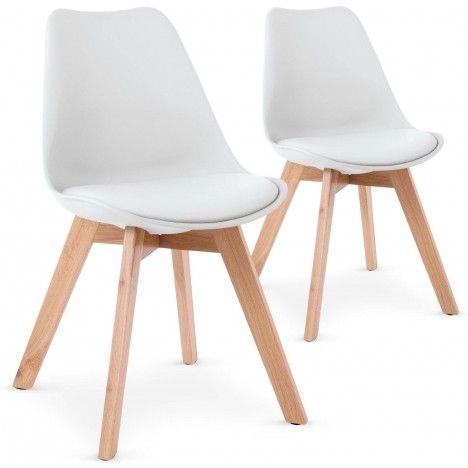 Chaise scandinave bicolore avec pieds en bois - Lot de 2 -
