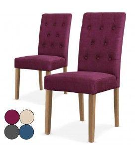 Chaise en tissu capitonnée Cecilia- Lot de 2