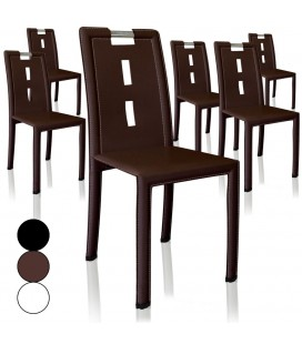 Lot de 4 chaises en simili cuir PVC marron noir ou blanc Handy