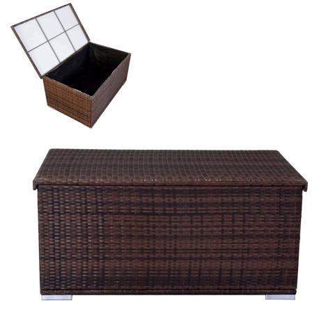 coffre de rangement en r sine tress e noire ou chocolat. Black Bedroom Furniture Sets. Home Design Ideas