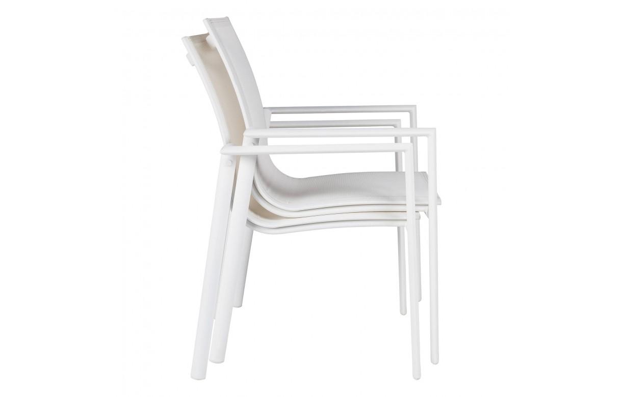 Table et chaises de jardin taupe et blanc en aluminium et verre for Chaises pour table en verre