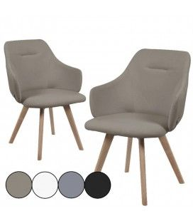 Chaise design scandinave en bois massif - Lot de 2
