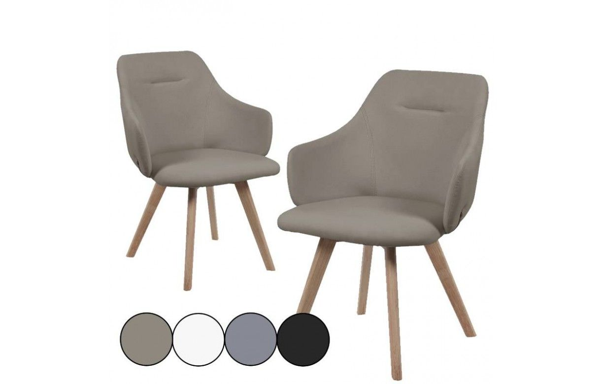 Chaise avec accoudoirs style scandinave set de 2 for Chaise salle a manger zen