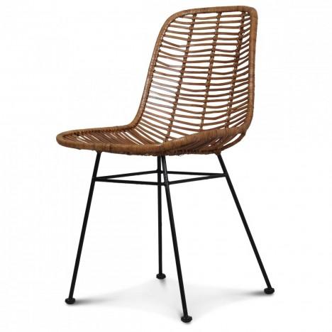 Chaise En Rotin Naturel Design Style Osier Et Pieds Metal Noir