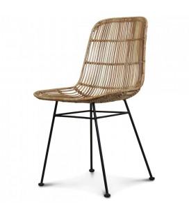 Chaise en rotin naturel design style osier et pieds métal noir