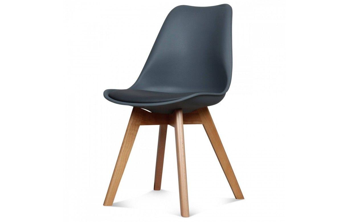 Chaise scandinave et pieds en bois scany lot de 2 for Chaise 2 pieds