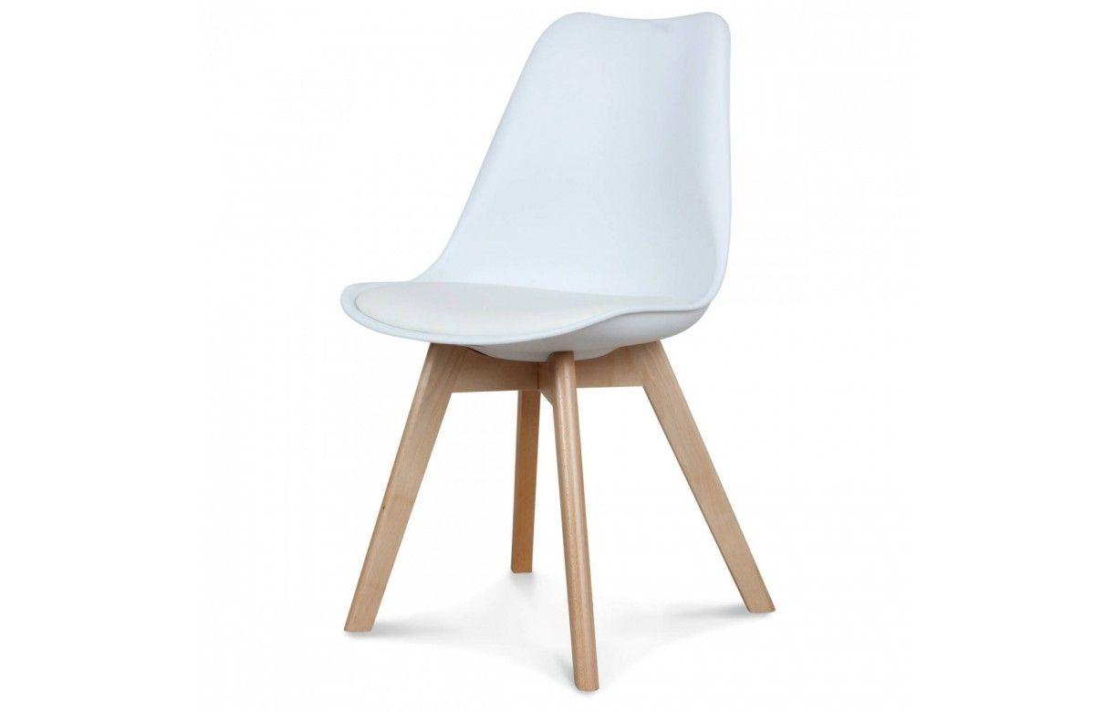 Chaise scandinave et pieds en bois scany lot de 2 for Chaise bois coloree