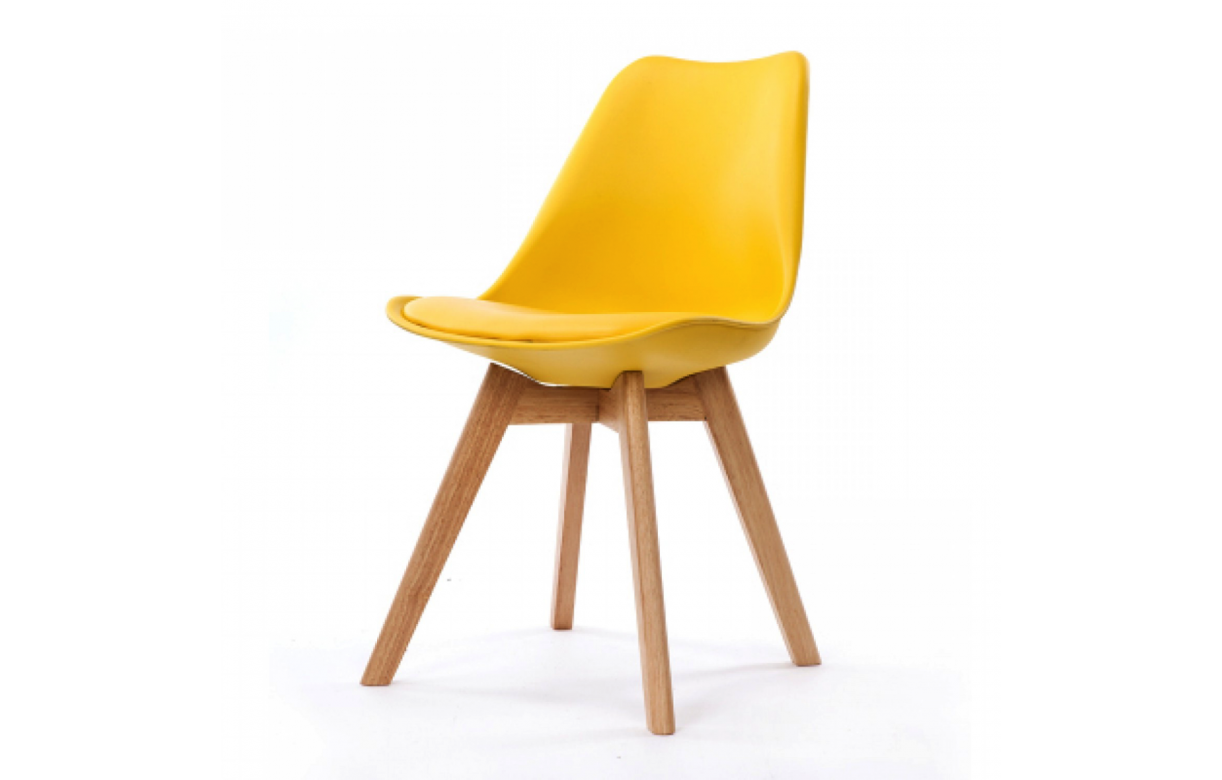 Chaise avec pied en bois chaise coloris blanc avec pied for Chaise blanche avec pied bois