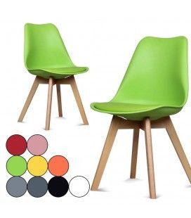 Chaise scandinave colorée avec pieds en bois Scany
