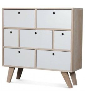 Commode style scandinave blanche en bois 7 tiroirs Boreal