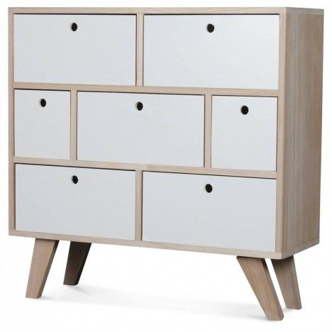 Commode style scandinave blanche en bois 7 tiroirs Boreal -