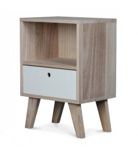 Chevet style scandinave blanc en bois 1 tiroir et 1 niche Boreal