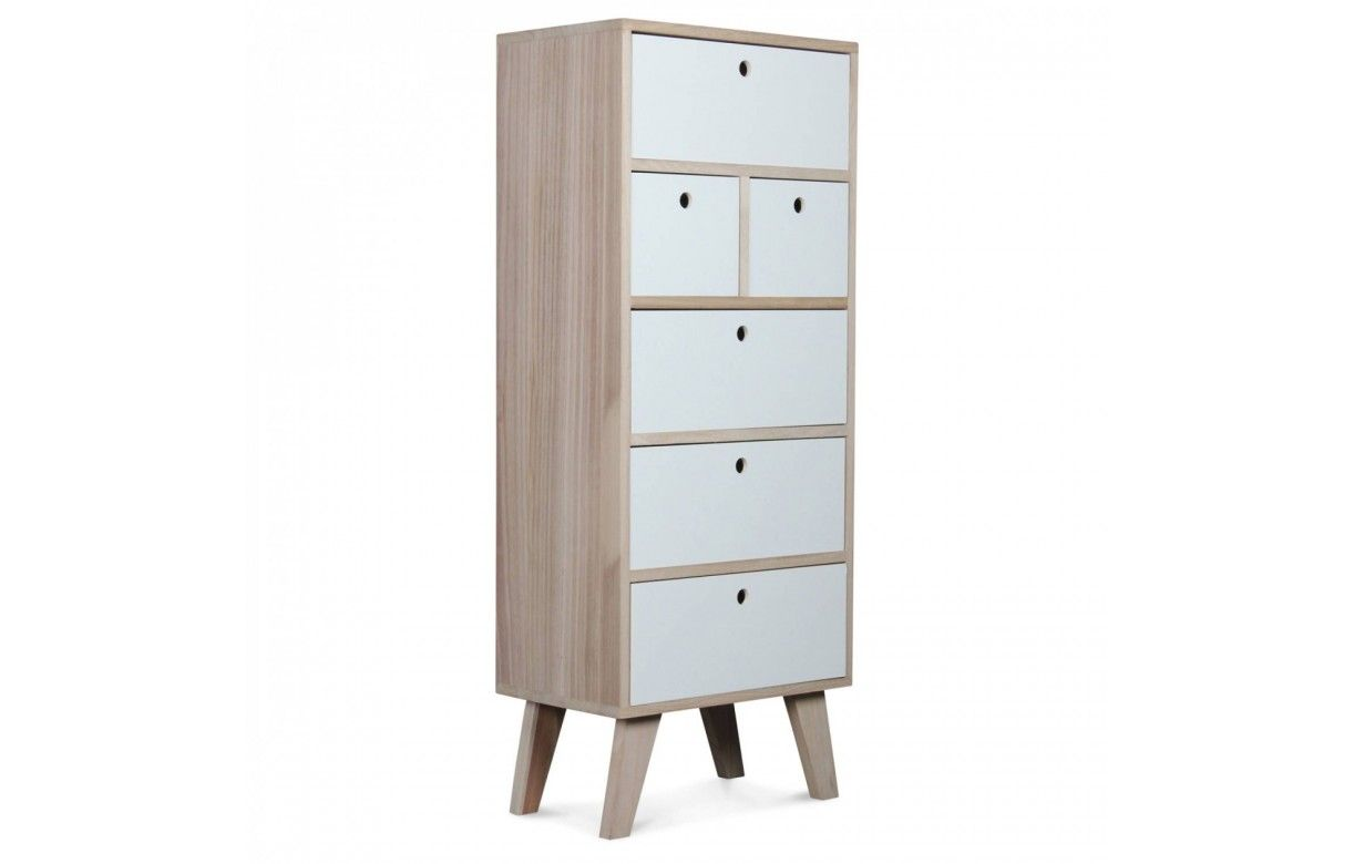 colonne de rangement blanche scandinave en bois 6 tiroirs. Black Bedroom Furniture Sets. Home Design Ideas