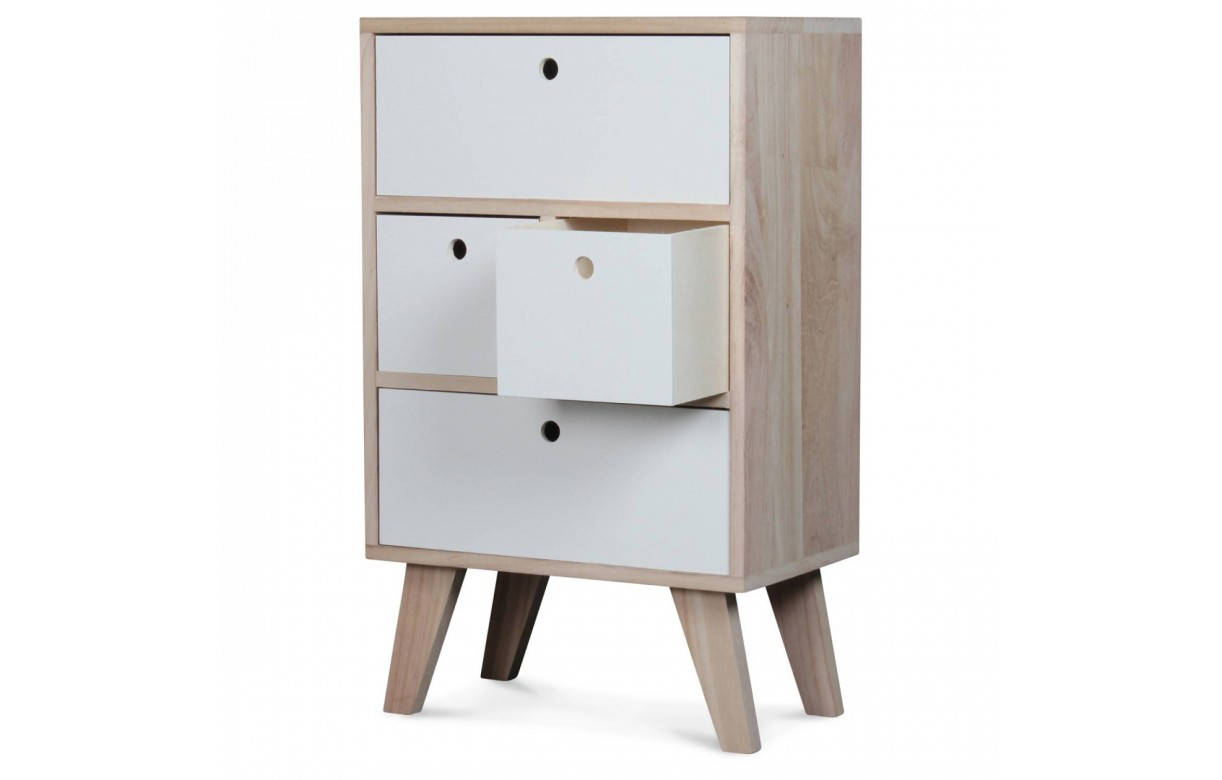 meuble de rangement style scandinave blanc en bois 4 tiroirs boreal. Black Bedroom Furniture Sets. Home Design Ideas