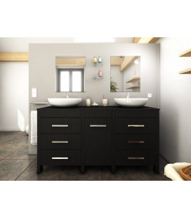 meuble salle de bain gris mat 4 portes 2 tiroirs 2 vasques 2 miroirs. Black Bedroom Furniture Sets. Home Design Ideas