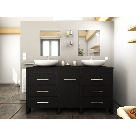 Meuble salle de bain bois noir + 2 vasques + 2 miroirs Roma